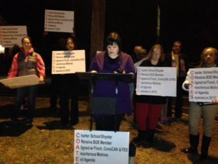 Maria Pereira at protest prior to Monday night school board meeting. CT Post photo.