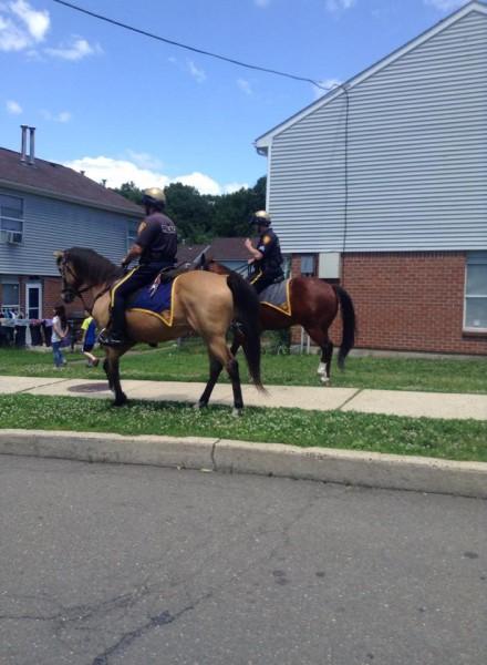 Mounted patrol, Trumbull Gardens