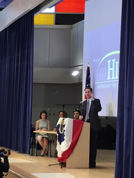 Jim Himes addresses supporters Monday night at Roosevelt School.