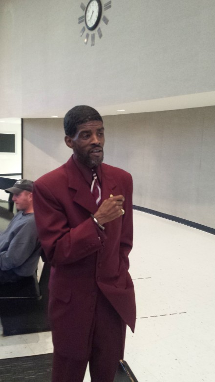 Ernie Newton brought his maroon threads to City Council meeting.