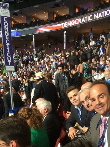 Joe Ganim and Mario Testa at convention. Next to Testa is Joe's son Rob. From Ganim's Facebook page.