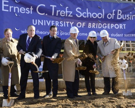It was always an experience to be on the other side of an Ernie Trefz negotiation, seen here, center, for the groundbreaking that for the UB business school that bears his name.