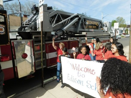 kids welcome fire truck