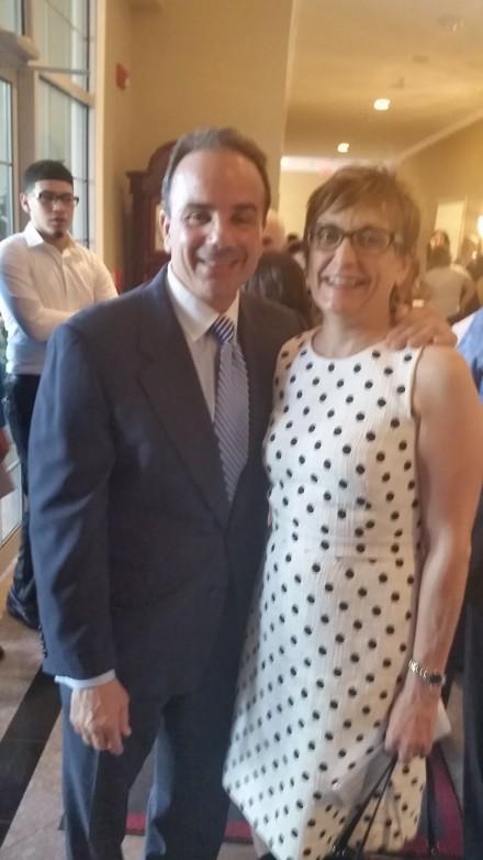 Ganim with Woodbridge Democratic Town Chair Karen Cusick.