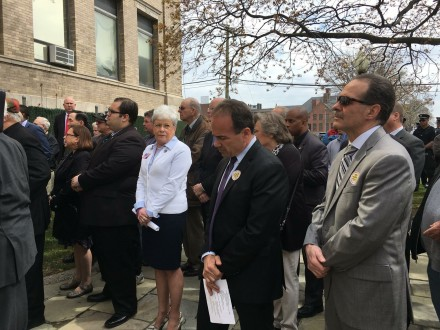 Mayor Joe Ganim and Glenn Marshall, right at L'Ambiance Plaza ceremony in April. At left is Lieutenant Governor Nancy Wyman.