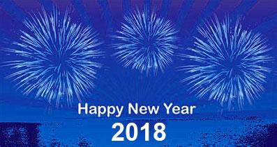 Happy New Year 2018 sky water