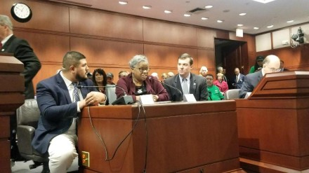 Members of Bridgeport's legislative delegation on Thursday testified in support of casino bill. From left, State Rep. Chris Rosario, State Senator Marilyn Moore and State Rep. Steve Stafstrom.