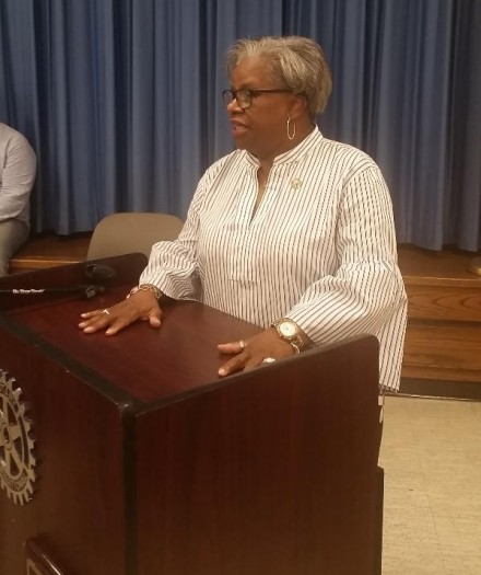 Marilyn Moore accepts endorsement Monday night in Trumbull.