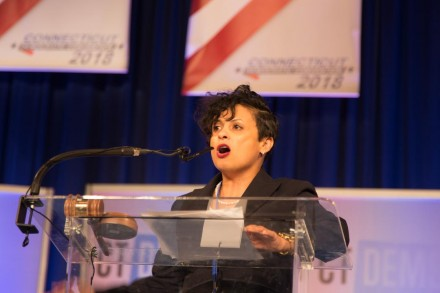 Health Director Maritza Bond delivered passionate nominating speech for Ganim. Frank Gerratana photo.