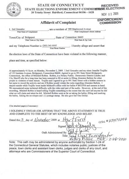 Joel's State Elections Enforcement Commission complaint