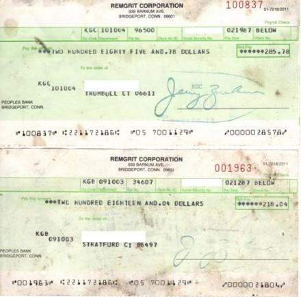 Old RemGrit  payroll checks