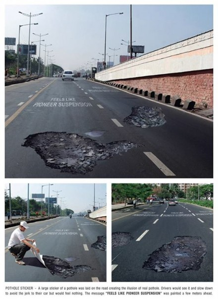 fake potholes