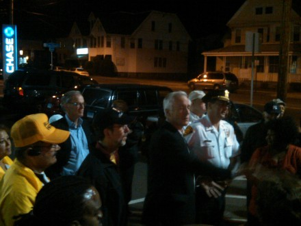 Tom Foley, rear in blue shirt, shows his face in Bridgeport. All talk, no action?