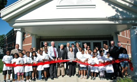 ribbon cutting with kids
